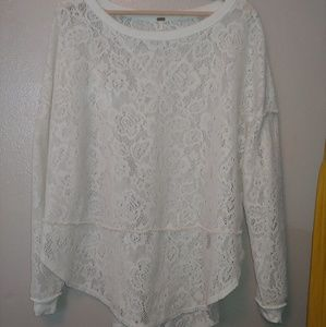Free People Lace Sweater pullover long sleeve soft